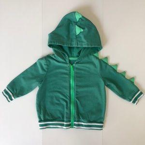 Dinosaur Green Tones Baby Zip-Up Size 3-6 Months